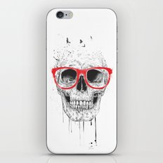 Skull with red glasses iPhone & iPod Skin
