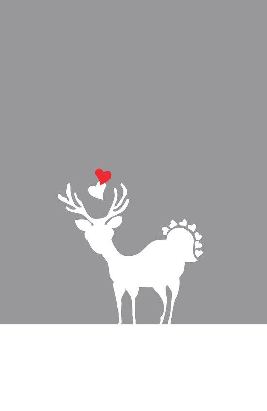 Deer Alloy Beige Heart Love Art Print