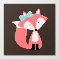 Pink Girl Fox  Canvas Print