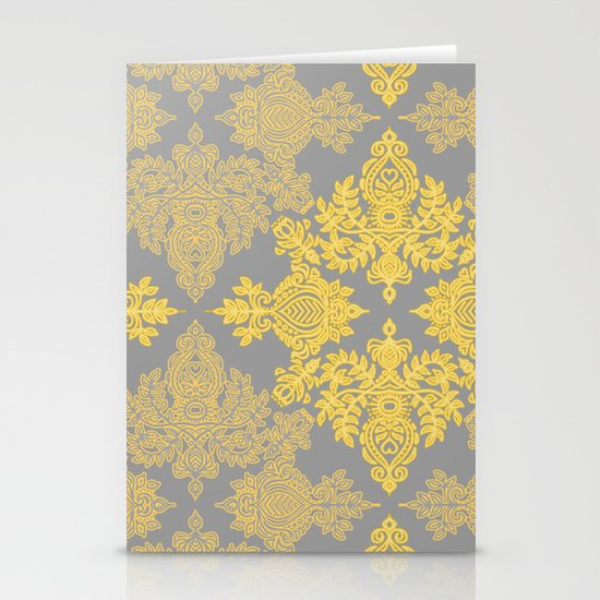 Golden Folk - doodle pattern in yellow & grey Stationery Card
