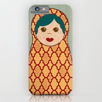 iPhone & iPod Case featuring Red and Yellow Matryoshka Nesting Dolls by Elephant Trunk Studio