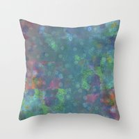 Blue and green abstract painting Throw Pillow