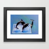 Leaping Orcas Framed Art Print