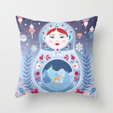 Our Lady of Winter Throw Pillow