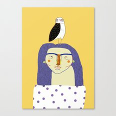 Women and Owl, owl art, people, illustration, fashion, style,  Canvas Print