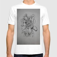 feline Mens Fitted Tee White SMALL