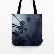 Palm Trees, Night Sky, Stars, Moon Tote Bag
