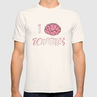I Brain (Love) Zombies Mens Fitted Tee Natural SMALL