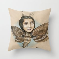MOTH LADY Throw Pillow