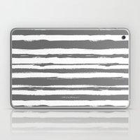 Brush Stroke Stripe Gray Laptop & iPad Skin