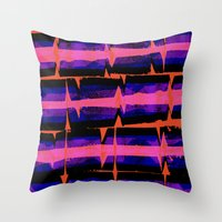 Pink and Purple Screen Stripe Throw Pillow