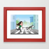 Walking with my dog Framed Art Print