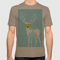 Blue Deer with sunglasses on  Mens Fitted Tee Tri-Coffee SMALL