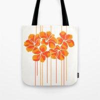 Hibiscus Stripe: Orange … Tote Bag