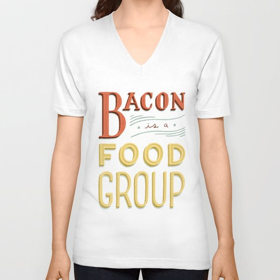 Bacon is a Food Group V-neck T-shirt