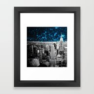 Starry Teal Night Framed Art Print
