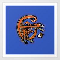 Medieval Squirrel Letter E Art Print