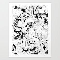 Black and White Marble Art Print