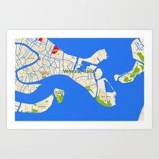 Venice Italy Map design - Venazia Italia Art Print