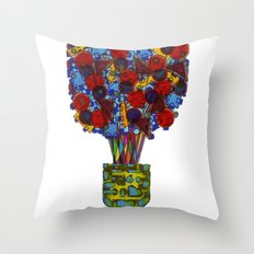 Geometric Flowers Throw Pillow