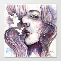 Dreams of freedom, watercolor artwork Canvas Print