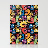 Stationery Cards featuring Monster Faces Pattern by Chris Piascik