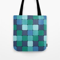 Blue Wood Blocks Tote Bag