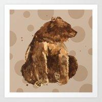 Spotty Bear pillow, bear painting, woodland nursery art, spots, kids, animal art Art Print