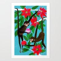 Spider Monkeys Holiday C… Art Print