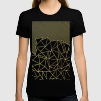 Ab Lines 45 Navy and Gold Womens Fitted Tee Black SMALL