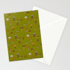 Mushrooms Green Stationery Cards
