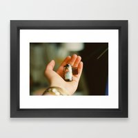 the analogue world in your hands Framed Art Print