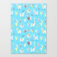 Alpaca Pattern Canvas Print
