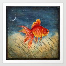 Floating Red Fish Art Print