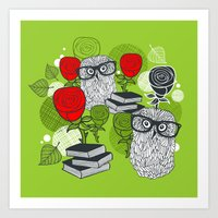 Owls and rose. Art Print