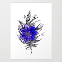 Blue Flower Feather Art Print