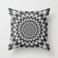 Chrysanthemum in Black and White Throw Pillow