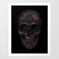 Skull Black Flowers Art Print