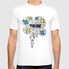 Think, dude. SMALL White Mens Fitted Tee