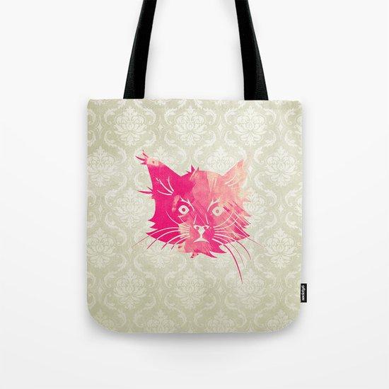 Pink Watercolor Cat Vector Vintage Floral Damask Tote Bag