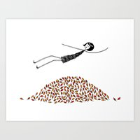 Eloise jumps in a pile of leaves Art Print