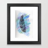zentangle doodle watercolor feather Framed Art Print