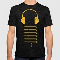 Gold Headphones Mens Fitted Tee Tri-Black SMALL