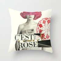 c´est rose Throw Pillow