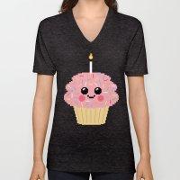 Happy Pixel Cupcake Unisex V-Neck