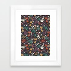 Midnight Florals Framed Art Print