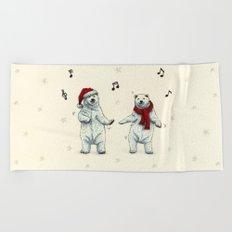 The polar bears wish you a Merry Christmas Beach Towel