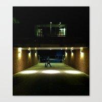Skater Claims Strange New Location At Night Canvas Print