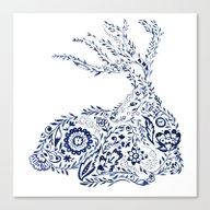 Folk Floral Indigo Deer Canvas Print