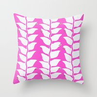 Hot Pink Heliconia Throw Pillow
